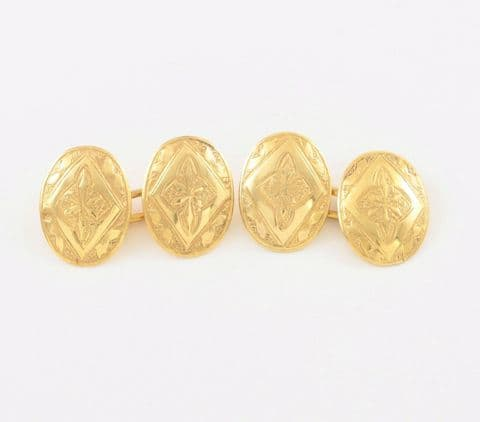 Antique Victorian 15Ct Gold Engraved / Patterned Cufflinks c 1900